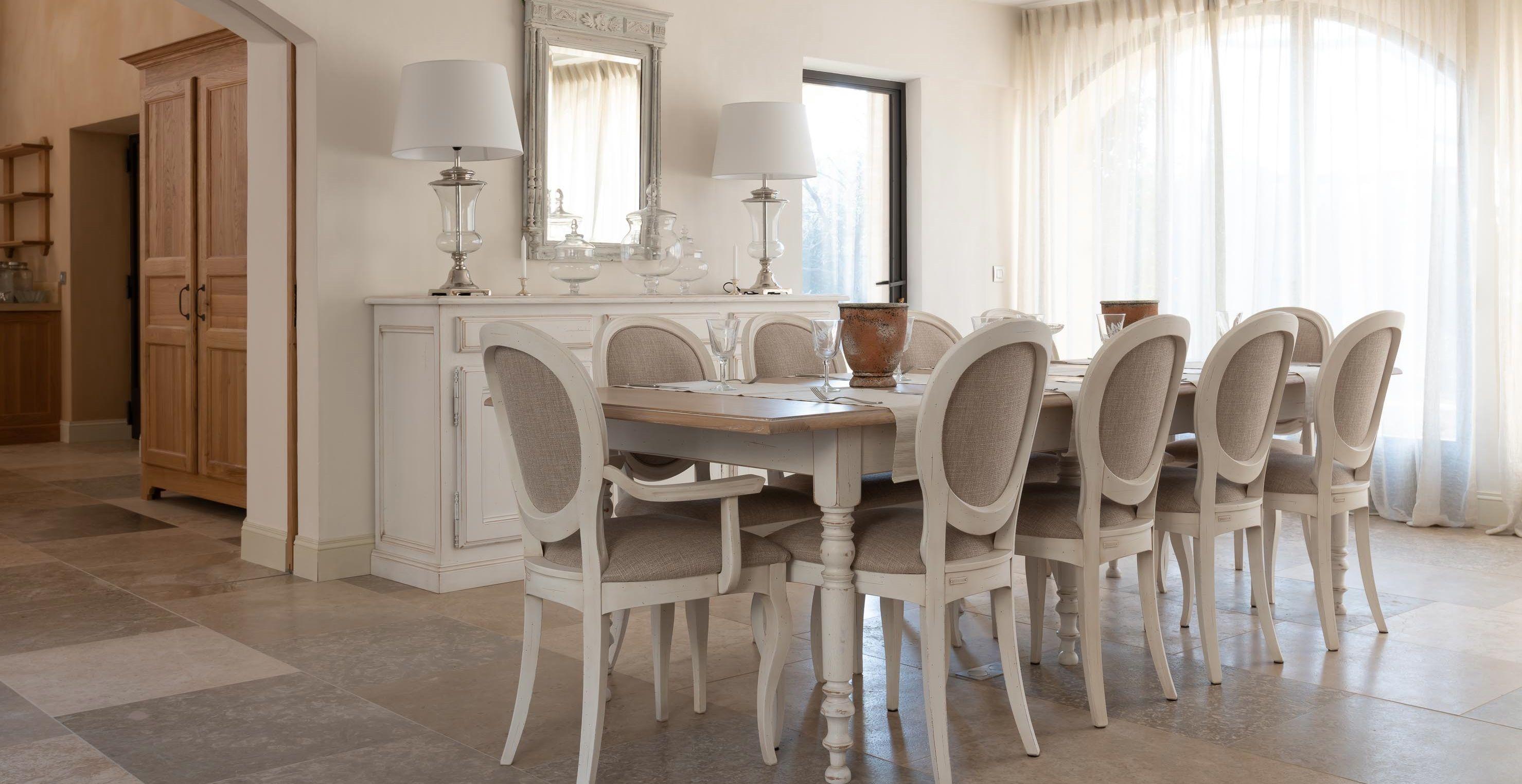 Table De Salle À Manger Carrée Extensible tables de repas patinées provençales - coup de soleil