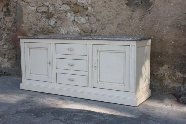 Bahut blanc patin rialto coup de soleil mobilier for Meuble non peint