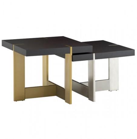 Table Gigogne Bois Massif Et Inox Grange Coup De Soleil Mobilier