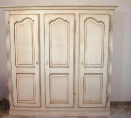 Armoire 3 portes ch ne patin meubles proven aux for Meubles provencaux