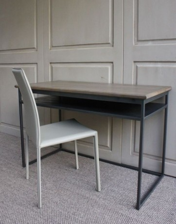 bureau contemporain chene et metal bureau console haut de gamme. Black Bedroom Furniture Sets. Home Design Ideas
